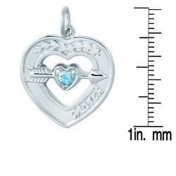 Sterling Silver March Birthstone Created Topaz Heart Necklace