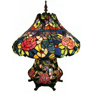 Tiffany style Double light Rose Table Lamp