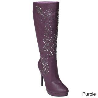 Liliana by Adi Womens Connie Stud Embellished Stiletto Boots