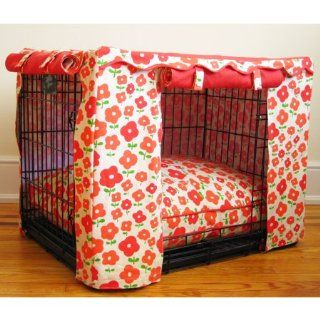 Coral Daisy Dog Crate Cover   Large