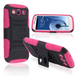 BasAcc Pink/ Black Hybrid Case with Stand for Samsung© Galaxy SIII