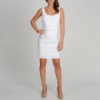 Fashions Womens White S.L.eeveless Tiered Dress