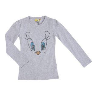 Coloris gris   Tee shirt fille manches longues   Composition 95%
