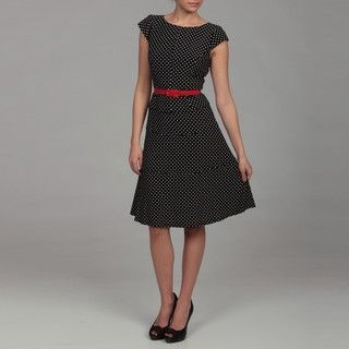 Anne Klein Womens Black/ Ivory Classic Dot Belted Dress