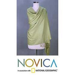 Silk and Pashmina Wool Minty Green Shawl (India)
