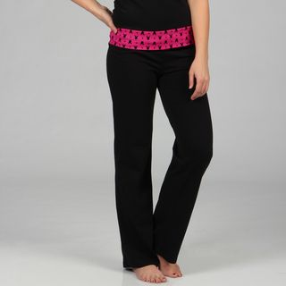 Playboy Intimates Womens Black and Fuchsia Banded Waist Lounge Pants