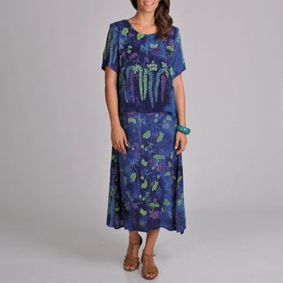 La Cera Womens Print Short sleeve Floral print Popover Dress