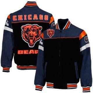 Chicago Bears Knockout Mens Suede Jacket, Black/Navy Blue