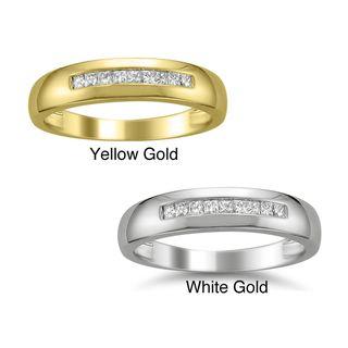 14k Gold Mens 1/4ct TDW Diamond Wedding Band