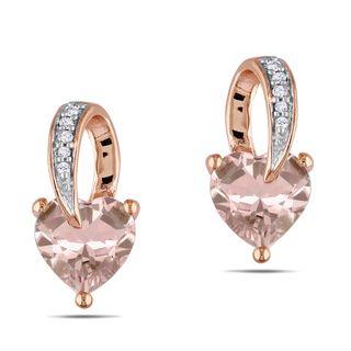 Miadora 10k Pink gold Morganite and Diamond Heart Earrings (H I, I2I3