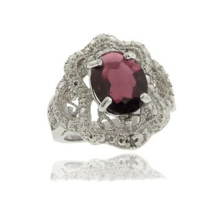 Gem Jolie Silver Overlay Garnet and Diamond Accent Antique style Ring