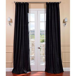Black Dupioni Silk 96 inch Curtain Panel
