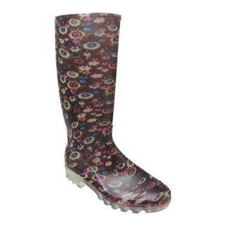 Womens Adi Designs Floral Print Rain Boot Black Floral