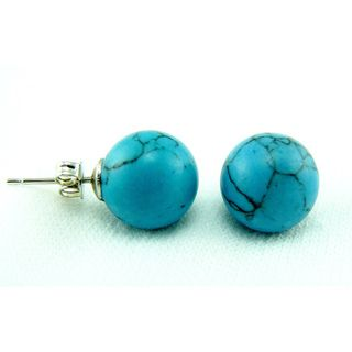 Pretty Little Style Silver plated Synthetic turquoise Stud Earrings
