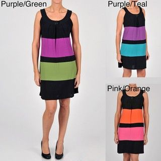 Tiana B Womens Colorblock Sleeveless Trapeze Jersey Dress