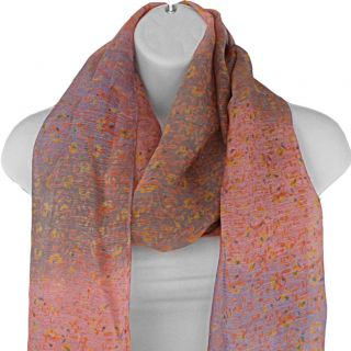 Hand spun Silk Floral Impressionist Print Coral Scarf (India