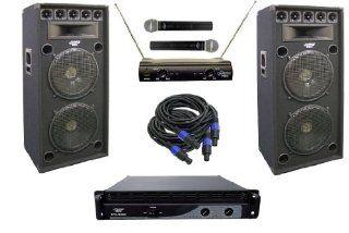 Pyle KTDA152 2400 Watt Complete DJ Stage Speaker System   Dual 15