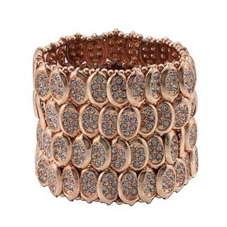 Morgan Ashleigh Rose Goldtone Glass Stone Stretch Bracelet