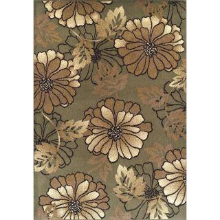 Alexa Abbey Modern Green Flower Blossom Floral Rug (49 x 75