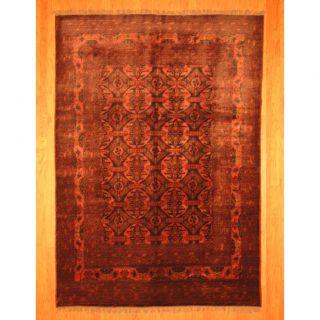 Afghan Hand knotted Tribal Khal Mohammadi Rose/ Black Wool Rug (68 x