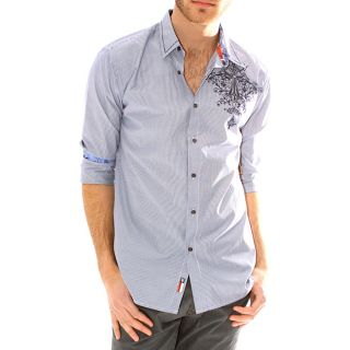 191 Unlimited Mens Blue Embroidered Shirt