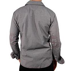 191 Unlimited Mens Grey Button down Shirt
