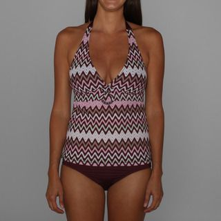 Perry Ellis Point Taken Tankini Top and Perfect Perry Black Plum