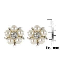 Roman Faux Cream Pearl Crystal Silvertone Flower Button Earrings