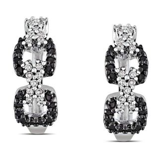 Sterling Silver 1/3ct TDW Black and White Diamond Earrings (G H, I3