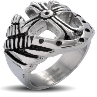 Stainless Steel Mens Royal Cross Shield Ring