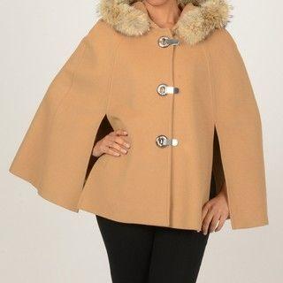 MICHAEL Michael Kors Womens Faux Fur Trimmed Hooded Cape