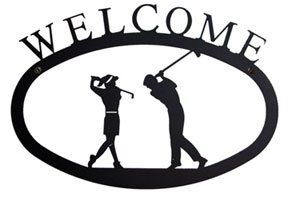 VWI WEL 156 S Two Golfers Welcome Sign SM Powder Metal