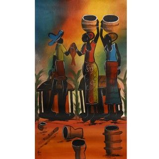Chico Fisher Village Scene Canvas Art (Malawi)