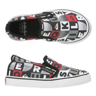 QUIKSILVER Slip on Little Foundation Enfant Noir, blanc, gris et rouge