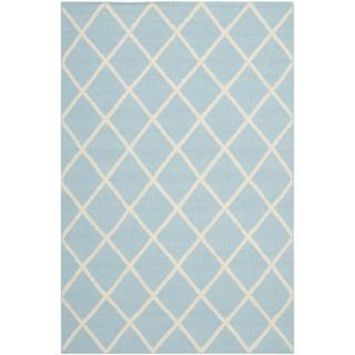 Hand woven Moroccan Dhurrie Light Blue Wool Rug