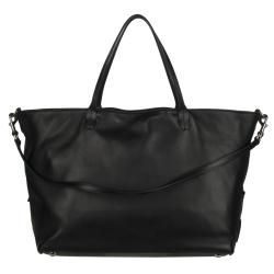Valentino Black Leather Flower Studded Shopper Bag