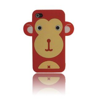 Red Cute Monkey Animal Silicone Case for Iphone 4 & 4S