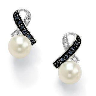 Angelina DAndrea Platinum over Silver Pearl, Sapphire and Diamond