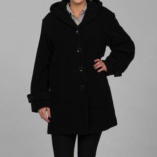 Jones New York Womens Plus Size Wool Blend Hooded Coat FINAL SALE