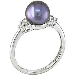 Miadora 10k Gold Black Akoya Pearl and 1/8ct TDW Diamond Ring (I J, I1