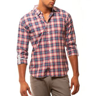 191 Unlimited Mens Slim Fit Red Plaid Shirt