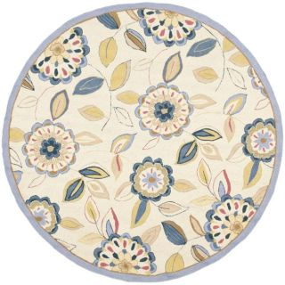 Hand hooked Floral Garden Ivory/ Blue Wool Rug (56 Round)