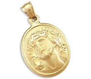 14k Yellow Gold Jesus Face Medallion Charm Pendant New