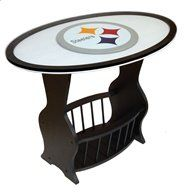 Pittsburgh Steelers Wood End Table With Glass Cover