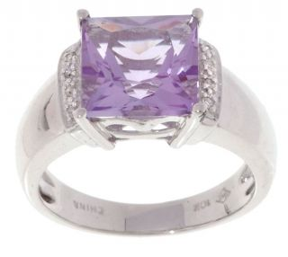 10 kt. White Gold 1/10 ct Diamond and Amethyst Ring