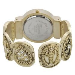 Geneva Platinum Womens Rhinestone Fleur de Lis Heart Cuff Watch