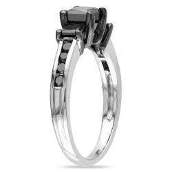 Miadora 10k White Gold 1 1/2ct TDW Princess Black Diamond 3 stone Ring