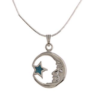 Southwest Moon Moon and Star Turquoise Inlay Liquid Metal 16 inch