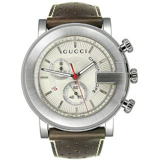 Gucci 101 G Mens Round Brown Leather Strap Watch