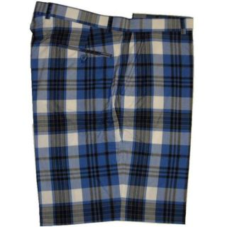 Vardon Mens Blue Plaid Golf Shorts